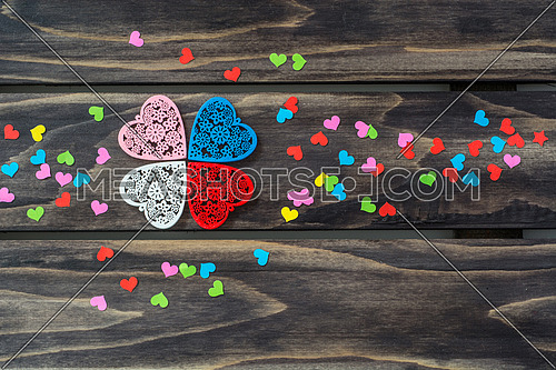 Valentines day hearts concept onwooden table