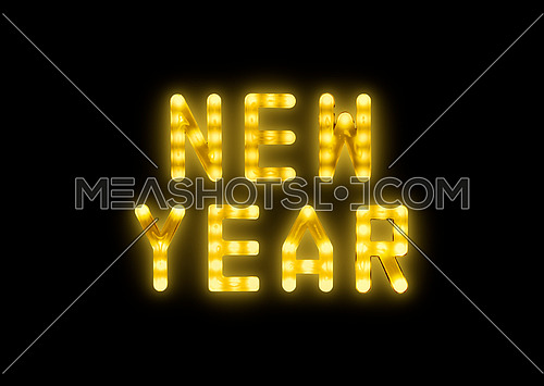 Close up yellow neon glowing bright led light NEW YEAR sign on black background