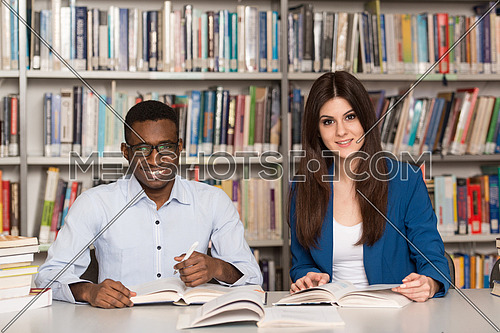 a man and a woman studying In A Library