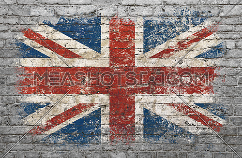 Grunge distressed flag of Britain painted on old weathered grey brick wall