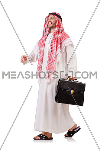 Arab businessman  with briefcase  isolated on white