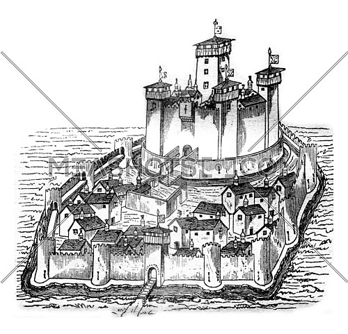 Chateau de la Pauleuze in Bourbonnais, after a manuscript of the fifteenth century, vintage engraved illustration. Magasin Pittoresque 1841.