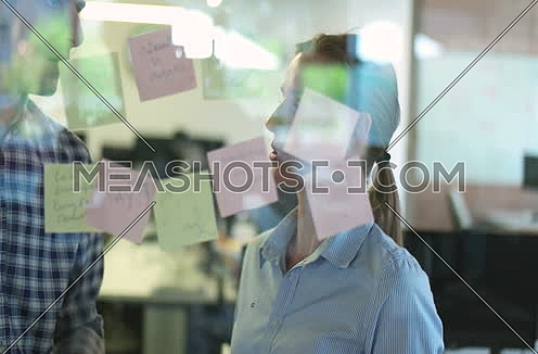 Coworkers making plan for startup business
