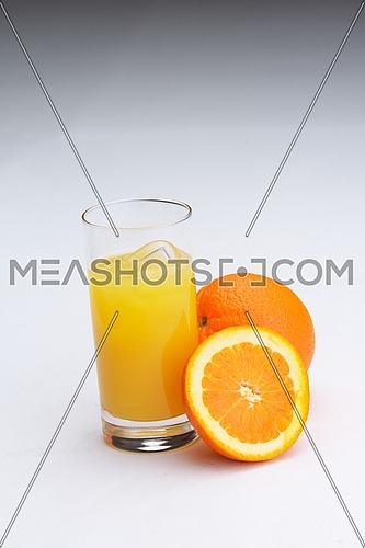 fresh orange juice refreshiong healthy organic drink isolated on white background