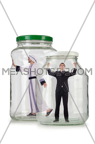 People trapped in the glass jar