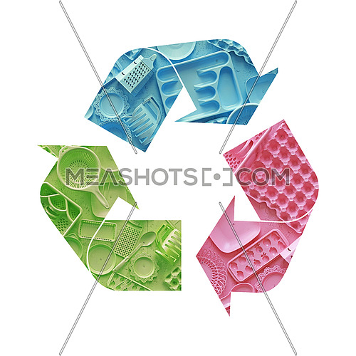 Illustration recycling symbol of multicolor plastic disposable tableware isolated on white background