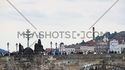 Panoramic low angle side view of Prague old town over Charles Bridge sunny day, Prague, Czech
