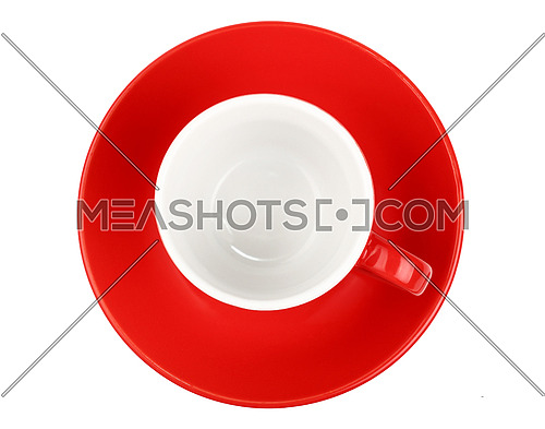 One red empty small espresso coffee cup with saucer isolated on white background, top view, bird eye view