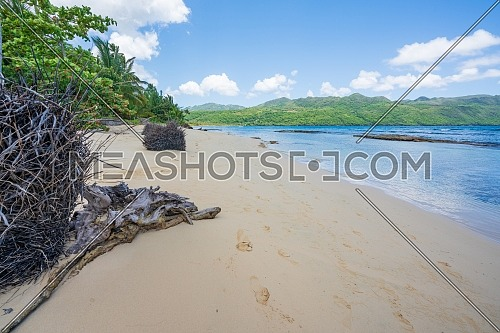 Nice tropical white sandy beach in Rincon, sunny day in Samana peninsula,Dominican Republic