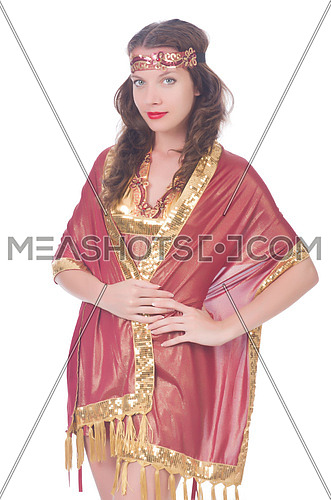 Woman in eastern dress isolated on white