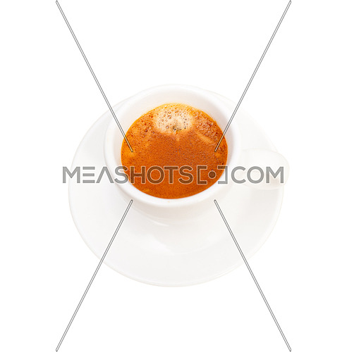 Italian espresso coffee  cup isolated on white macro