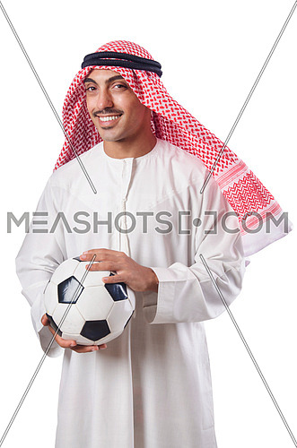 Arab in football concept on white