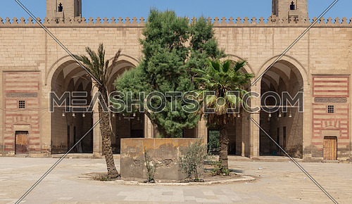 Courtyard of Al Zaher Barquq public historical mosque, Al Dar Al Ahmar district, Cairo, Egypt