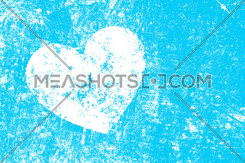 Grunge white heart over teal blue noisy abstract romantic background
