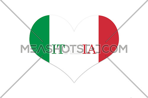 Italy Flag in Shap Of Heart. Official colors and proportion. Isolated on white Bacground illustration