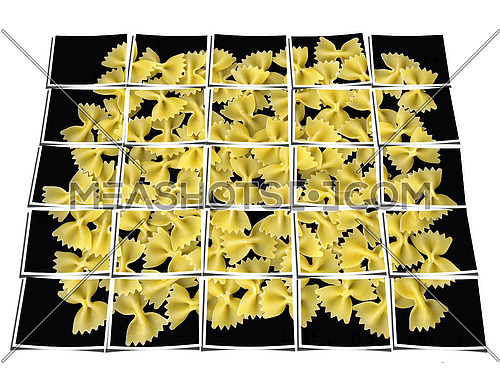 bow tie pasta collage composition of multiple images over white