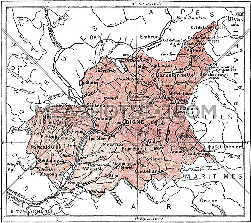 Map of Department of Basses-Alpes, vintage engraved illustration. Dictionary of words and things - Larive and Fleury - 1895.