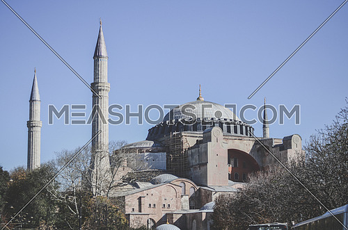 Side view of the famous Hagia Sophia in Istanbul,Turkey.