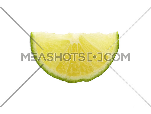 Close up one round thin cut slice of fresh green lime fruit, backlit and isolated on white background