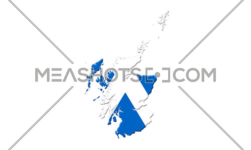 Map Of Scotland With Flag On It Isolated On White Background 3D illustration