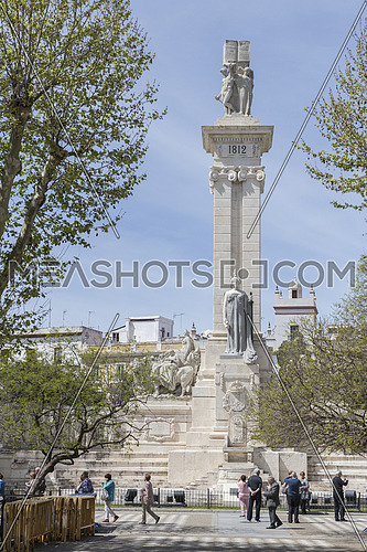 Cadiz Spain- April 1: Monument to the Constitution of 1812, tourist visiting the monument in spring, Cadiz, Andalusia, Spain