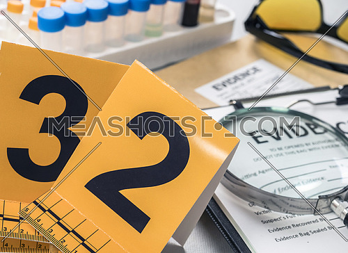 Identification Numbers, various laboratory tests forensic equipment, conceptual image