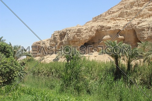 The natural mix between trees and hills in front of a mountain in Egypt