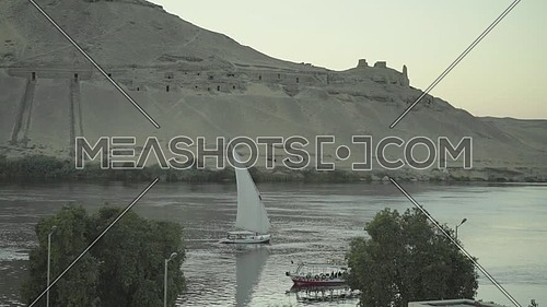 Aerial Shot for the River Nile showing felluca in Aswan at Day