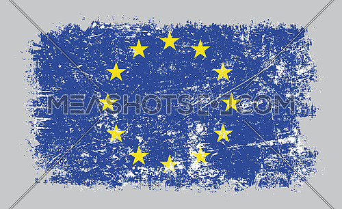 Vector illustration of grunge old distressed European Union EU flag isolated on grey background