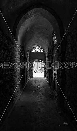 black and white halls of a monastery in Wadi Al Natroun.