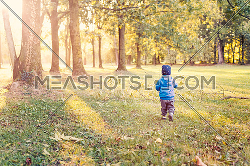 Baby boy walk at sunset,infant boy in the park evening light, used split toning.