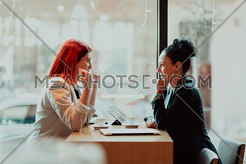 One-on-one meeting.Two young business women sitting at table in cafe.Girl using laptop, smartphone, blogging. Teamwork, business meeting. Freelancers working.