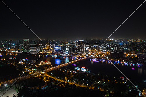 A long exposure night shot of Cairo View from the Cairo tower