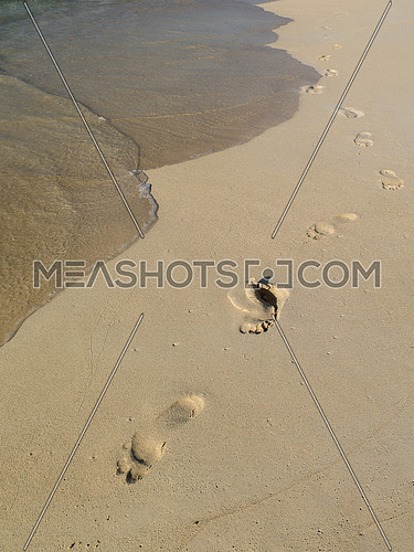 Footprints on sand beach with wave