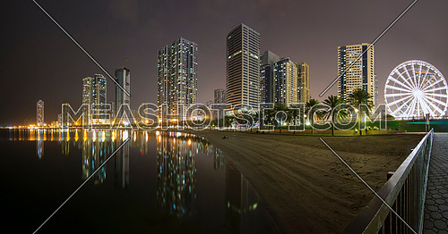Sharjah city shore line at night