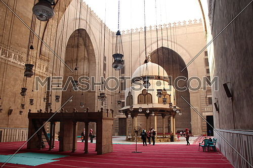 a photo from inside Sultan Hassan Mosque in Egypt , old Cairo