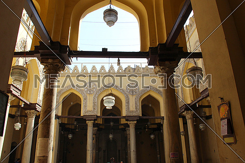 a photo for Al Aqmar mosque in old Islamic Cairo , Egypt
