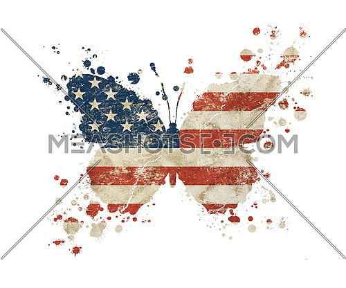 Butterfly shaped old grunge vintage dirty faded shabby distressed American US national flag with paint drops splattered isolated on white background