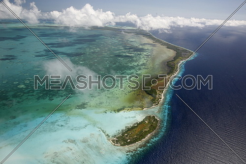 the airview of the seascape of the Los Roques Islands in the caribbean sea of Venezuela.