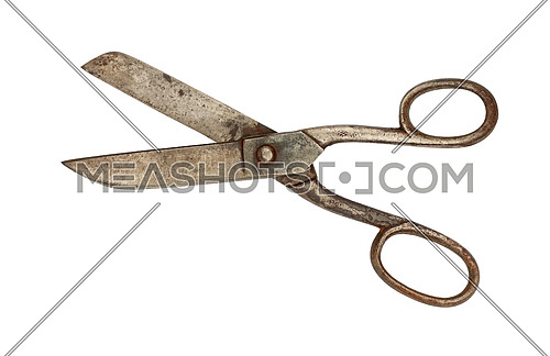Close up of big old vintage metal open scissors isolated on white background