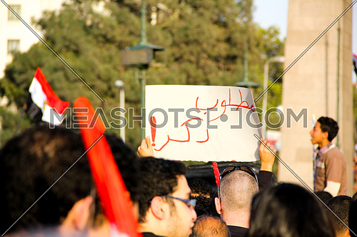 A man holding sign during 25 jan revolution first anniversary