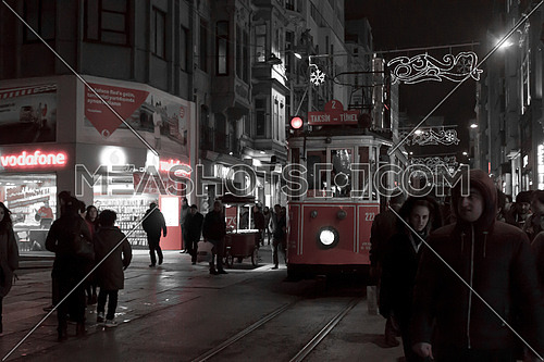 a night shot of the red tram in Istiqlal Street istanbul, turkey