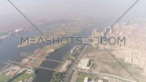 Ariel Shot for the river nile at Maadi area at day.