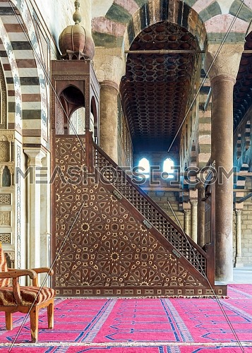 Minbar decorated with arabesque geometrical patterns, historic ibn Qalawun Mosque, Cairo, Egypt