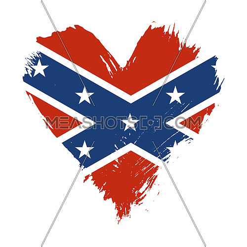 Grunge brushstroke painted illustration of heart shaped distressed American US Confederate flag isolated on white background
