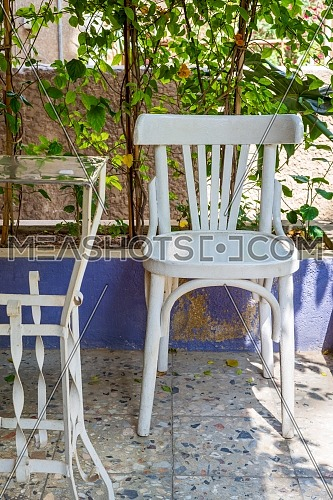 Traditional Egyptian metal tea table and white wooden chair on blurred background of green climber plant