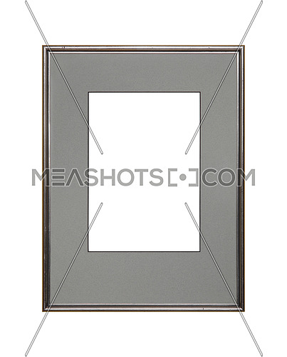 Vintage old wooden classic silver gray painted vertical rectangular frame and cardboard mat (passe partout mount) for picture or photo, isolated on white background, close up