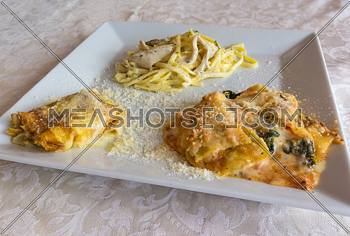 Pictured three typical Italian dishes, lasagne, crepes with aspagi and noodles with cream and mushrooms, served in a white dish.