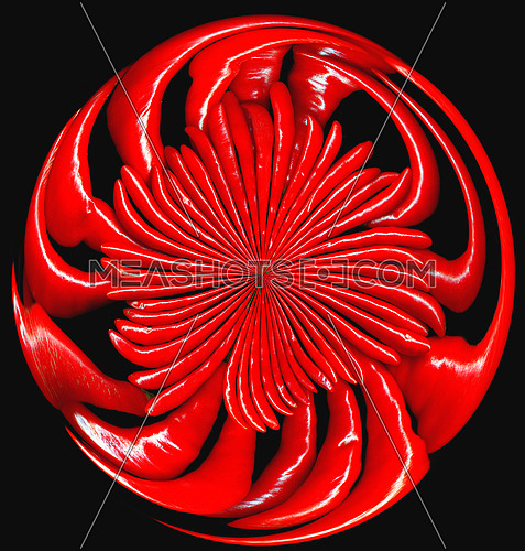 bounch of red cili peppers on circular composition ,black background