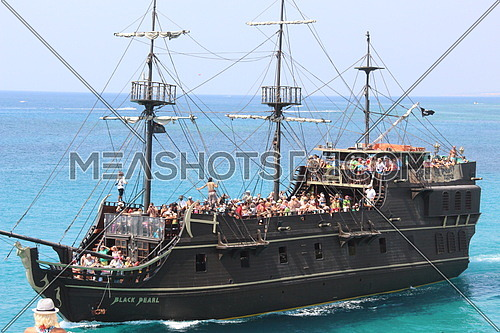 A tourist ship in the Mediterranean sea - CYPRUS written on it Black pearl